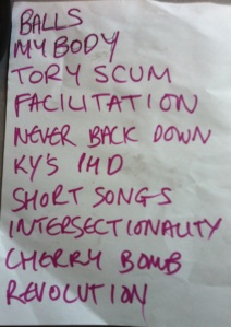National Minimum Rage setlist