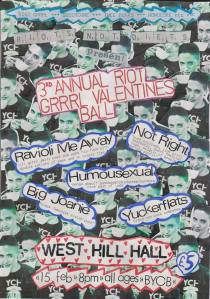 Riots Not Diets Riot Grrrl Valentine's Ball, West Hill Hall, Brighton, Saturday 15th February, from 8pm